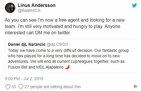 [CS:GO] Пути игроков Japaleno разошлись